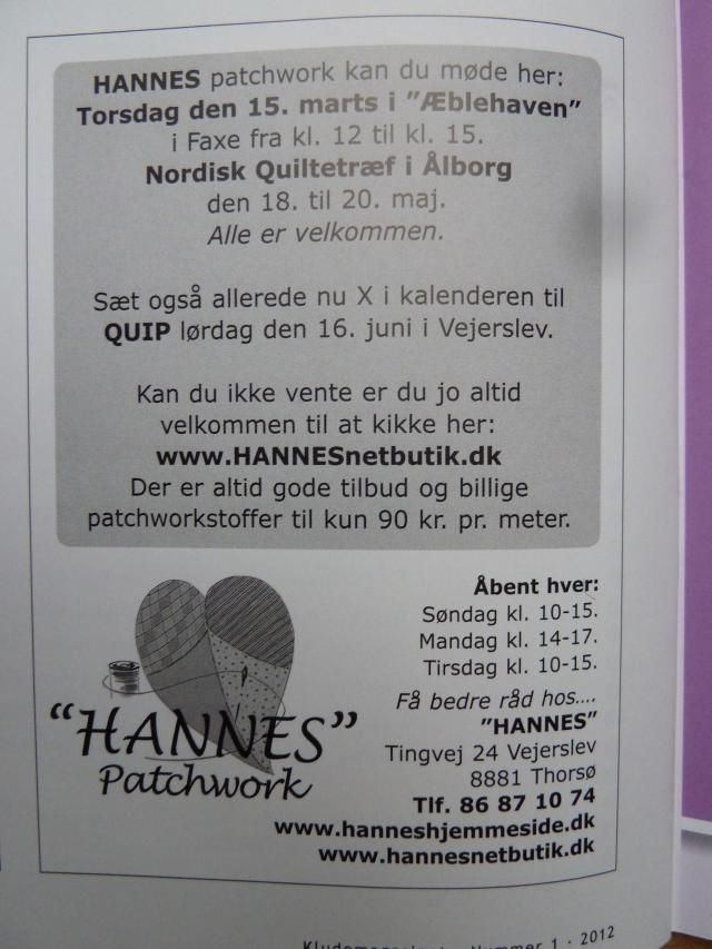 Kludemagasinet 2012-1  - hos HANNES patchwork