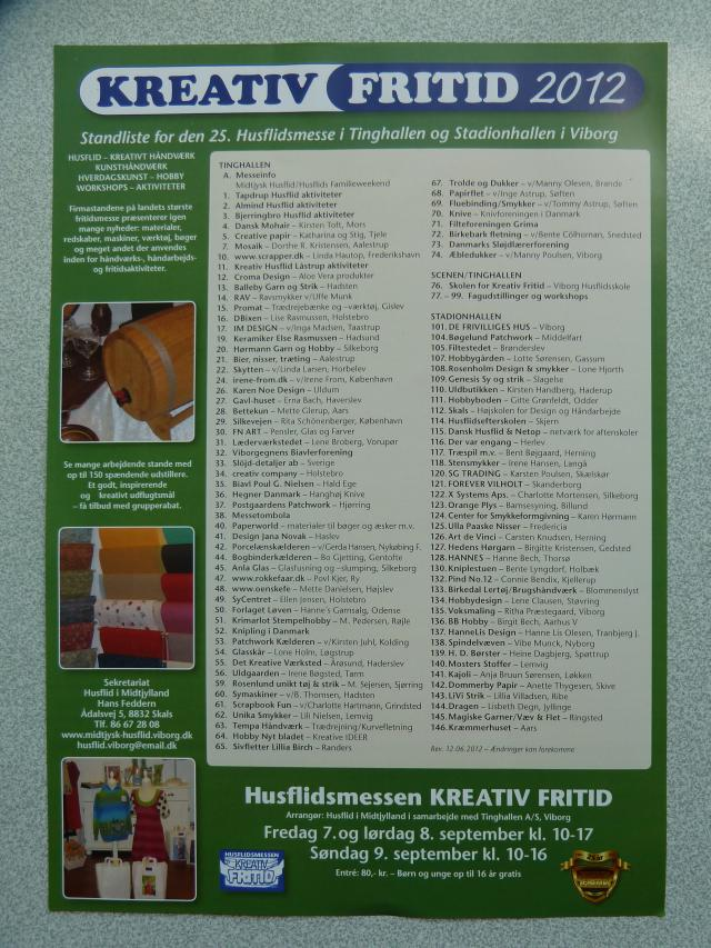 Kreativ fritid i Viborg den 7-8-9 sept 2012 - HANNES patchwork kommer