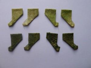 8 papskabeloner med grønt patchwork stof til HANNES patchwork Jule DHD 2011 - et gratis patchwork mønster