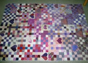 Lilla Patchwork tæppe til quilt pink -set på HANNES blog