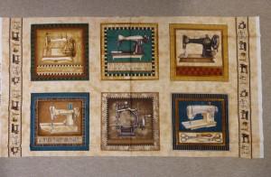 6 forskellige symaskiner på lyst patchwork stof - set hos HANNES patchwork
