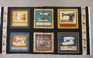 6 forskellige symaskiner på mørkt patchwork stof - set hos HANNES patchwork