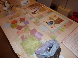 pastel patchwork stoffer på tæppekursus hos HANNES Patchwork